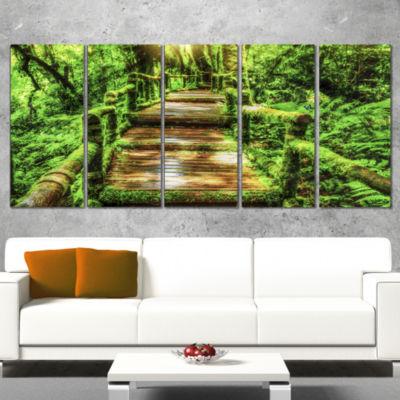 Designart Moss Around Wooden Walkway in Rain Photography Canvas Art Print - 5 Panels