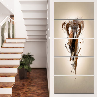 Designart Mouflon Abstract Walking Animal Canvas Wall Art -4 Panels
