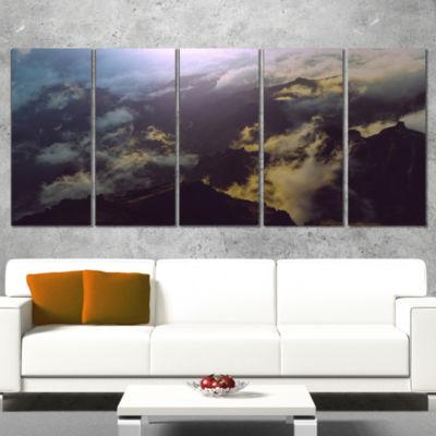 Designart Mountain Above The Clouds View LandscapeCanvas Art Print - 4 Panels