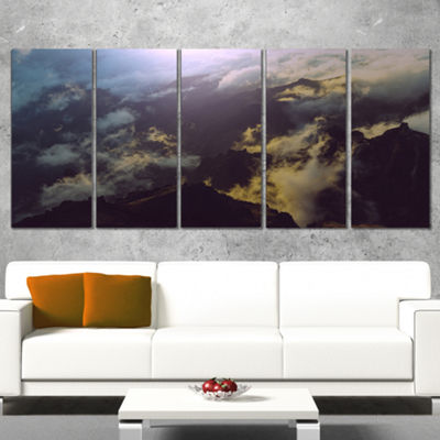 Designart Mountain Above The Clouds View LandscapeWrapped Canvas Art Print - 5 Panels