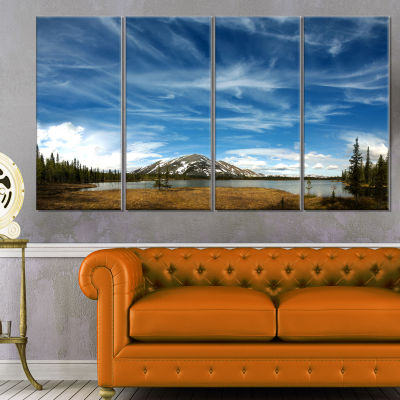 Mountain and Lake Under Blue Sky Extra Large Seashore Canvas Art - 4 Panels