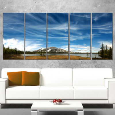 Designart Mountain and Lake Under Blue Sky Extra Large Seashore Canvas Art - 4 Panels