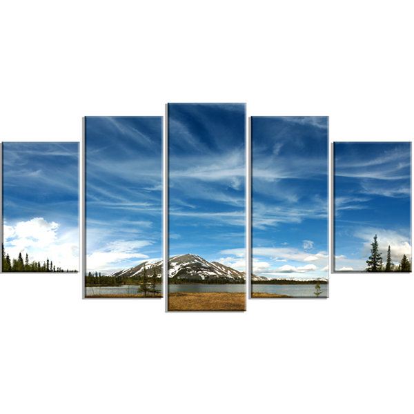 Designart Mountain and Lake Under Blue Sky Extra Large Seashore Wrapped Canvas Art - 5 Panels