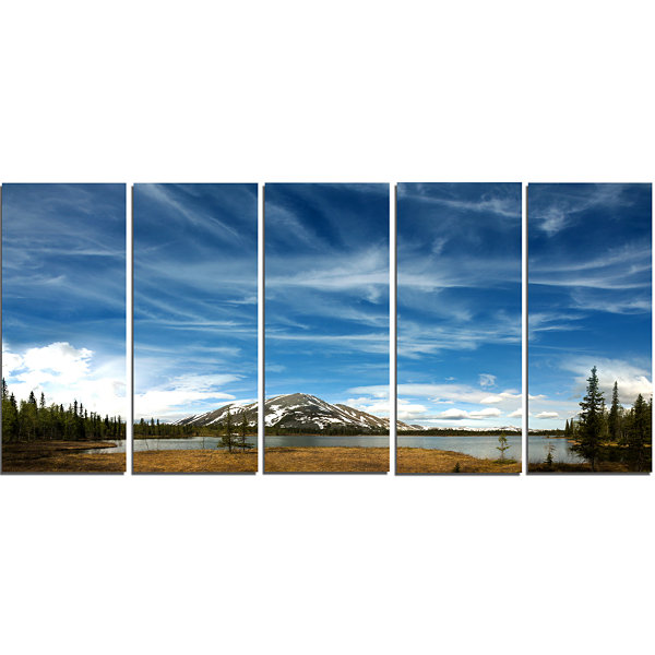 Designart Mountain and Lake Under Blue Sky Extra Large Seashore Canvas Art - 5 Panels