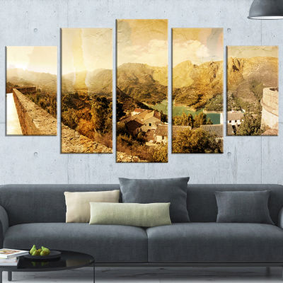 Designart Mountain and Lofty Lake Landscape PhotoCanvas ArtPrint - 4 Panels