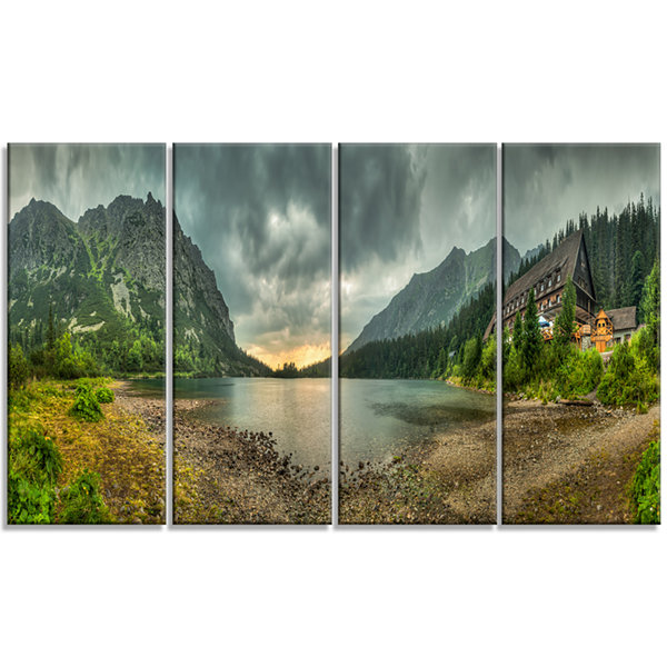 Designart Mountain Chalet At Sunset Panorama Landscape Canvas Art Print - 4 Panels