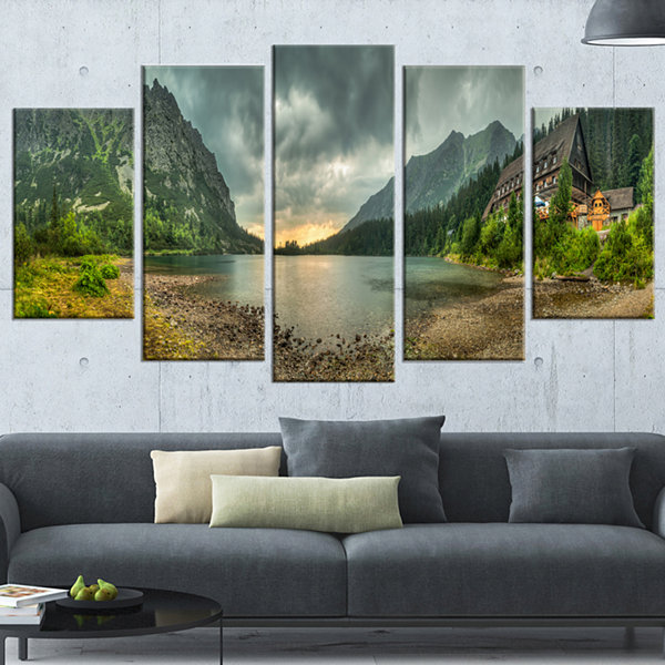 Designart Mountain Chalet At Sunset Panorama Landscape Wrapped Canvas Art Print - 5 Panels