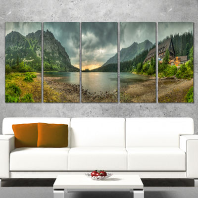 Designart Mountain Chalet At Sunset Panorama Landscape Canvas Art Print - 5 Panels