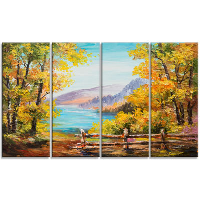 Designart Mountain Lake in The Fall Landscape ArtPrint Canvas - 4 Panels