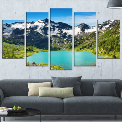 Designart Mountain Lake Landscape Photography Canvas Art Print - 4 Panels