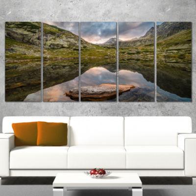 Mountain Lake Over Skok Waterfall Extra Large Seashore Canvas Art - 4 Panels