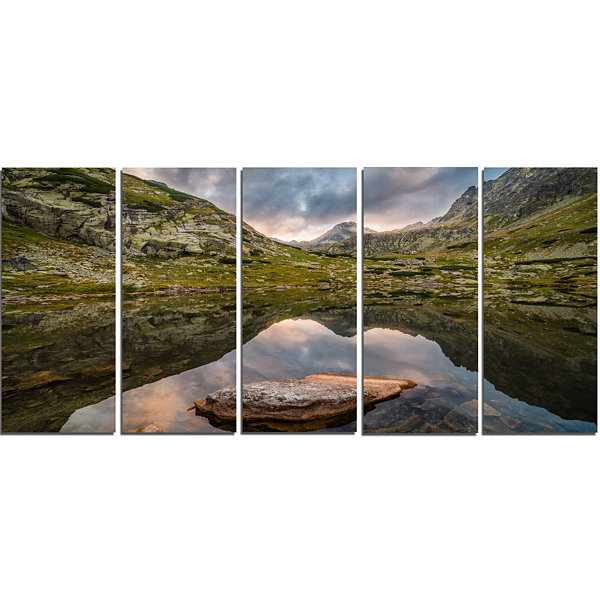 Designart Mountain Lake Over Skok Waterfall ExtraLarge Seashore Canvas Art - 5 Panels