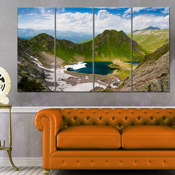 Designart Mountain Lake View on Bright Day Large Landscape Canvas Art - 4 Panels