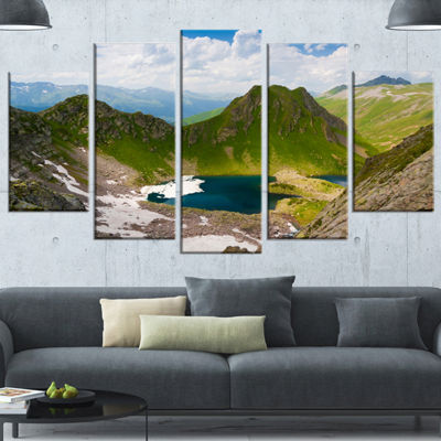 Designart Mountain Lake View on Bright Day Large Landscape Wrapped Canvas Art - 5 Panels