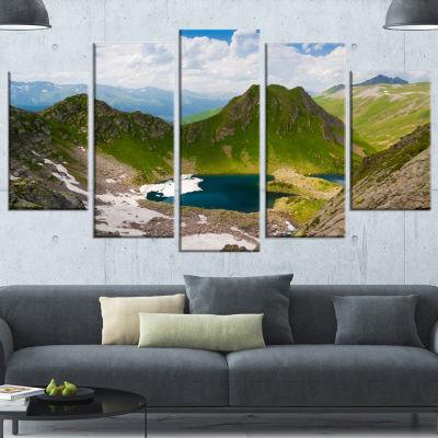 Designart Mountain Lake View on Bright Day Large Landscape Canvas Art - 5 Panels