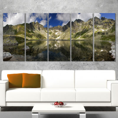 Mountain Lake With Reflection Landscape Photo Canvas Art Print - 5 Panels