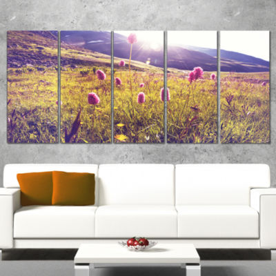 Designart Mountain Pasture With Pink Flowers LargeFlower Canvas Art Print - 4 Panels