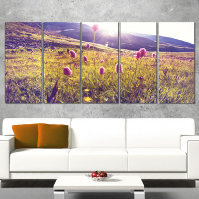 Designart Mountain Pasture With Pink Flowers LargeFlower Canvas Art Print - 5 Panels