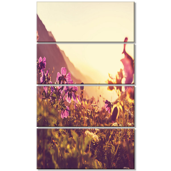 Designart Mountain Pasture With Purple Flowers Floral CanvasArt Print - 4 Panels