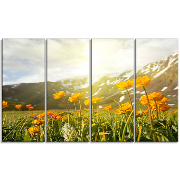 Designart Mountain Pasture With Yellow Flowers Floral CanvasArt Print - 4 Panels