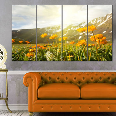 Mountain Pasture With Yellow Flowers Floral CanvasArt Print - 4 Panels