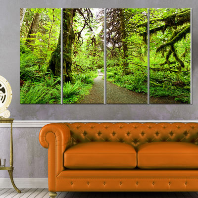 Designart Mountain Plain With Daisy Flowers LargeFlower Canvas Art Print - 4 Panels