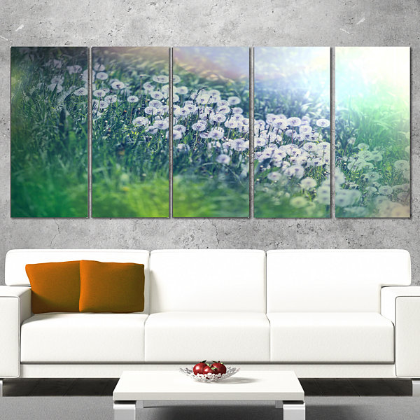 Designart Mountain Plain With Little Flowers LargeFlower Canvas Art Print - 4 Panels