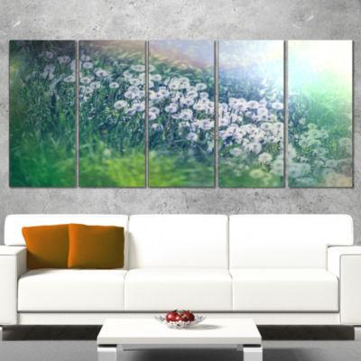 Designart Mountain Plain With Little Flowers LargeFlower Wrapped Canvas Art Print - 5 Panels