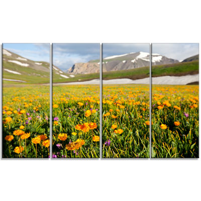 Designart Mountain Plain With Wild Yellow FlowersFloral Canvas Art Print - 4 Panels