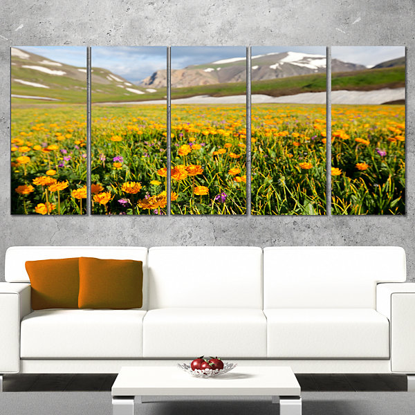 Designart Mountain Plain With Wild Yellow FlowersFloral Wrapped Canvas Art Print - 5 Panels