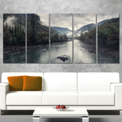 Designart Mountain River With Fog and Rain ModernSeascape Canvas Artwork - 4 Panels