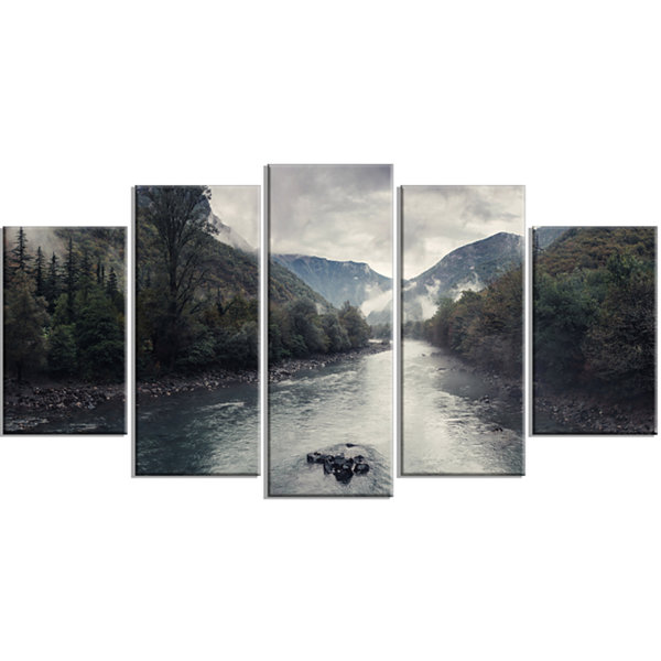 Designart Mountain River With Fog and Rain ModernSeascape Wrapped Canvas Artwork - 5 Panels