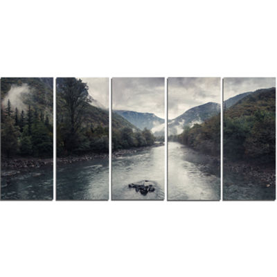 Designart Mountain River With Fog and Rain ModernSeascape Canvas Artwork - 5 Panels