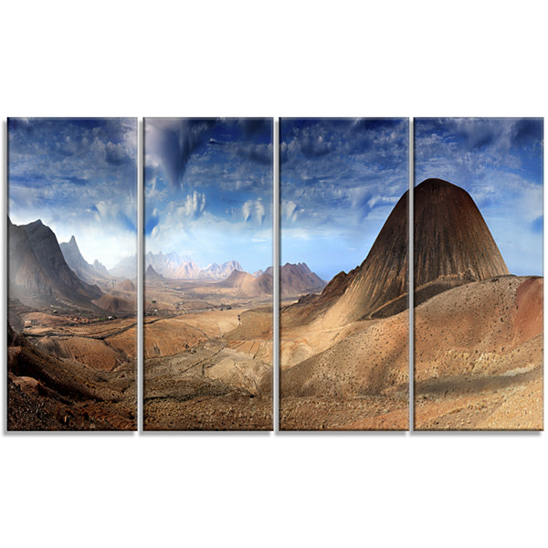 Designart Mountain Scenery Panorama Landscape Photography Canvas Print - 4 Panels