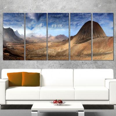 Designart Mountain Scenery Panorama Landscape Photography Wrapped Canvas Print - 5 Panels