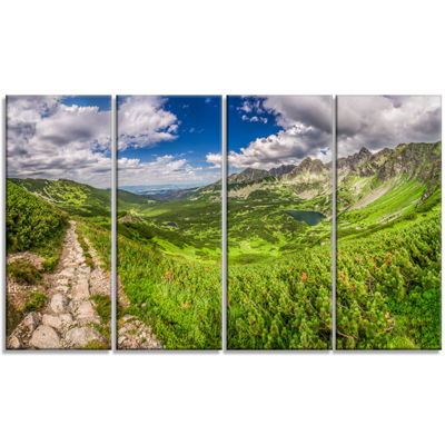Designart Mountain Trail in Tatras Panorama Landscape CanvasArt Print - 4 Panels