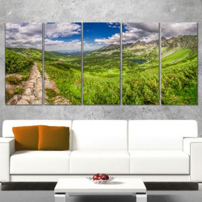 Designart Mountain Trail in Tatras Panorama Landscape CanvasArt Print - 5 Panels