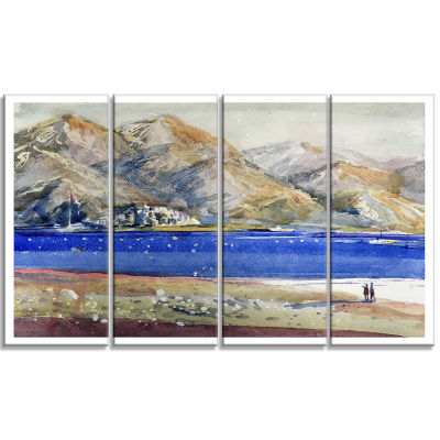 Designart Mountains and Blue Sea Landscape Art Print Canvas- 4 Panels