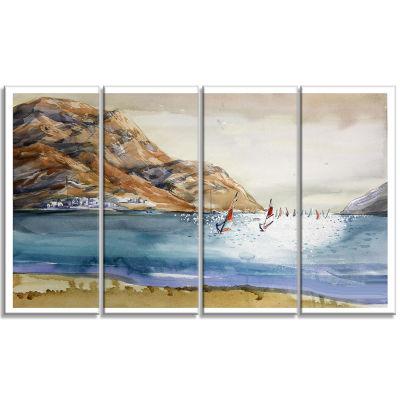 Designart Mountains in Sea Seascape Canvas Art Print - 4 Panels