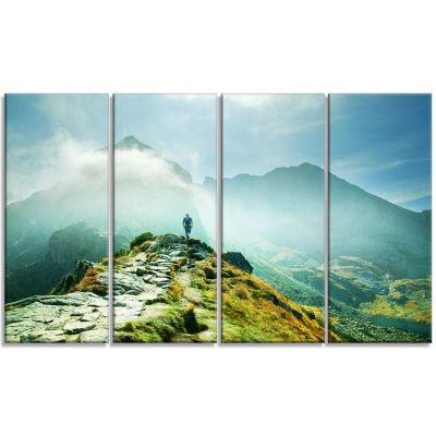 Designart Mountains Landscape Photography Canvas Art Print -4 Panels