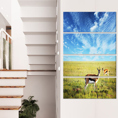 Designart Mountains Pasture Under Bright Sunset Oversized Landscape Canvas Art - 4 Panels