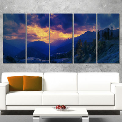 Designart Mountains Peaks of Caucasus Hills Landscape Artwork Canvas - 5 Panels