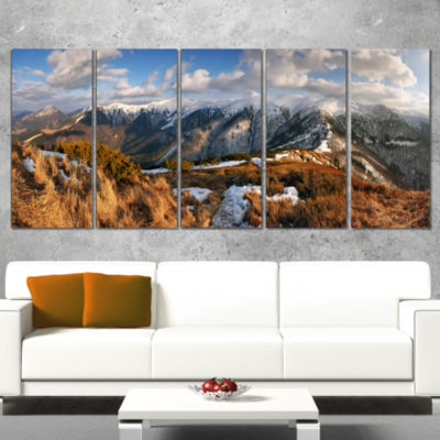Designart Mountains With Sun At Vratna Valley Landscape Wrapped Canvas Art Print - 5 Panels