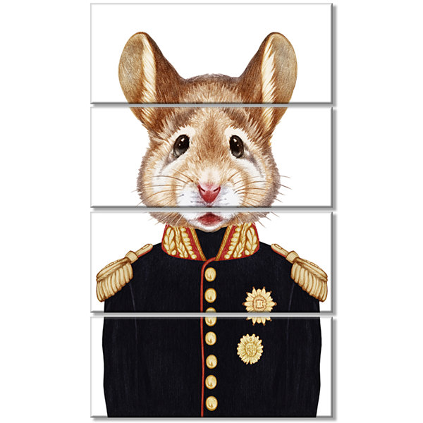 Designart Mouse in Military Uniform Animal CanvasArt Print- 4 Panels