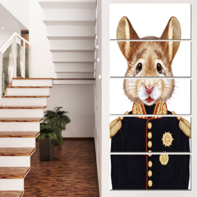 Designart Mouse in Military Uniform Animal CanvasArt Print- 5 Panels