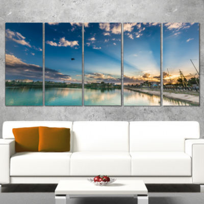 Moving Clouds Over Lake Landscape Photo Canvas ArtPrint - 4 Panels