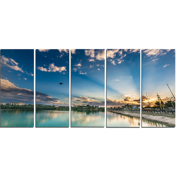 Designart Moving Clouds Over Lake Landscape PhotoCanvas ArtPrint - 5 Panels