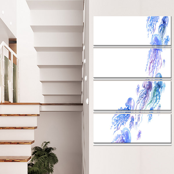 Designart Moving Jellyfish Group Abstract Canvas Art Print -4 Panels