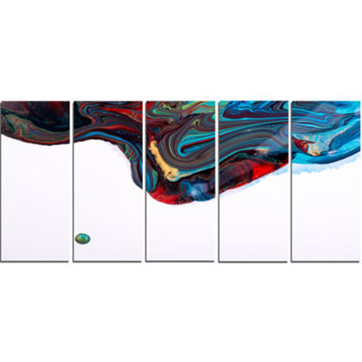 Designart Multi Color Abstract Acrylic Paint Mix Abstract Art on Canvas - 5 Panels
