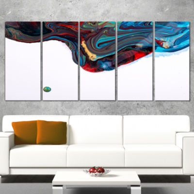 Multi Color Abstract Acrylic Paint Mix Contemporary Art on Canvas - 5 Panels